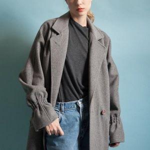 1980s Vintage Oversized Grey Wool Coat